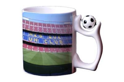ספל קרמיקה ידית כדורגל + הדפסה על המוצר