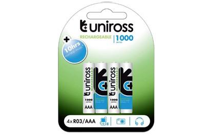 סוללות נטענות Uniross AAA 1100mah