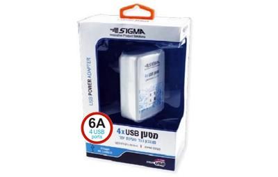 מטען USB מהיר 4 כניסות 6A